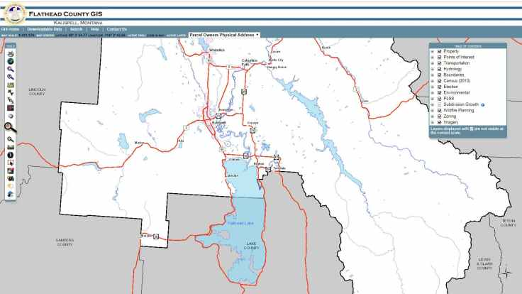 Flathead County Esri web mapping app.