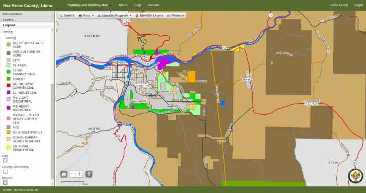Zoning GIS Map for Nez Perce County, Idaho
