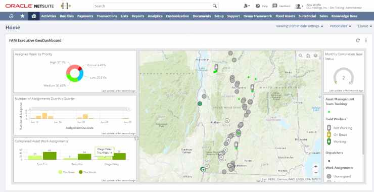 GeoBusiness for NetSuite FAM Executive GeoDashboard