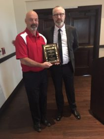Dave Davies (left), Oakhurst Country Club (Clayton), was the recipient of our 2018 George Santana Distinguished Service Award