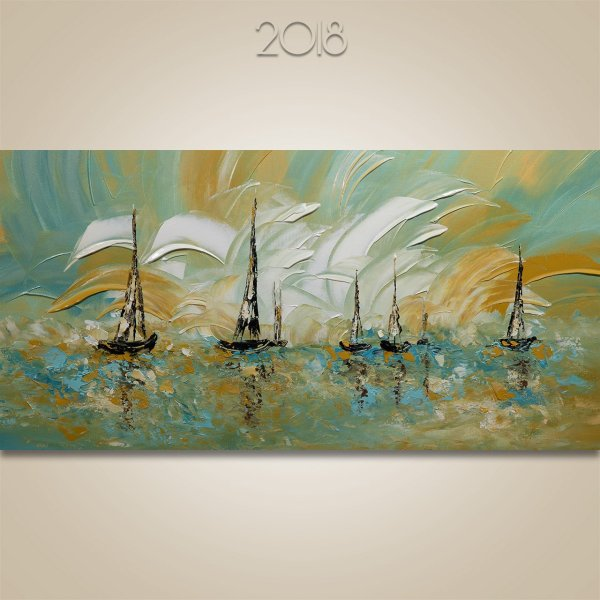 Sail With Me 25 - Acrylic Seascape & Sailboat Painting