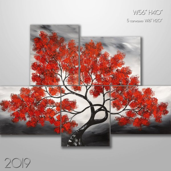 Asian Summer - Tree Painting Canvas Set