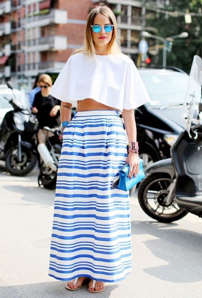 blue and white striped skirt outfit