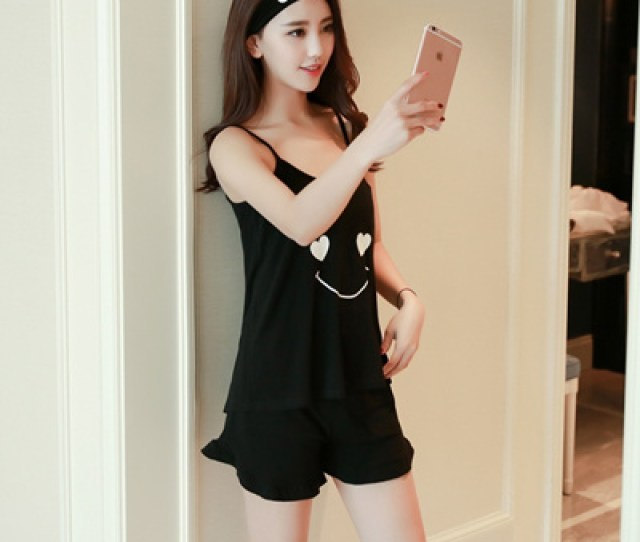 Pyjamas Woman Strap Shorts Sexy Korean Student Summer Fresh And Lovely Sleeveless Cotton Thin Cotton
