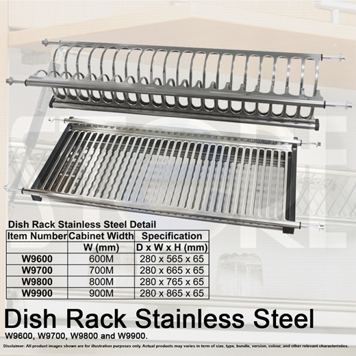stainless steel cabinet kitchen double layer dish rack anti rust drain plate 4 sizes set