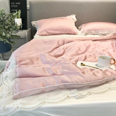 夏季純色雙面天絲夏涼被空調被少女粉蕾絲花邊雙人可機洗薄被子-淘寶網