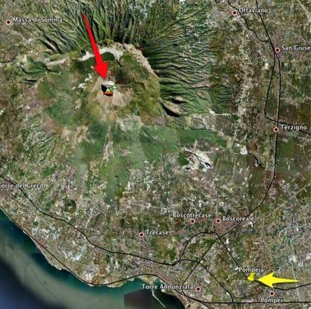 Pompéia e o Vesúvio: distância pelo Google Maps
