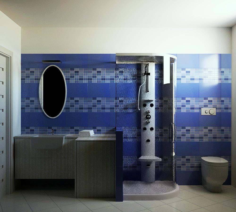 Il bagno di servizio con decoro a mosaico