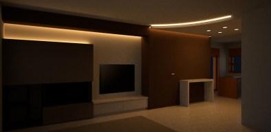 Il soggiorno illuminato dai led