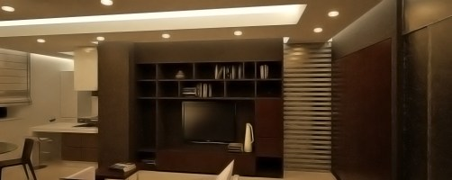 Il soggiorno con l'illuminazione artificiale