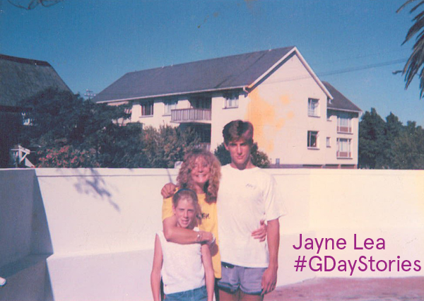 Jayne Lea with her mother and brother