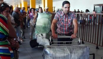 Viajeros procedentes de Estados Unidos y sus acompañantes llegan a La Habana. (Archivo)