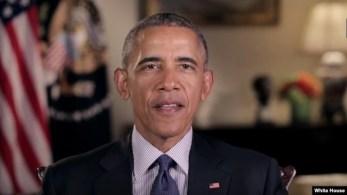 El presidentre Barack Obama, durante su mensaje semanal a la nación.
