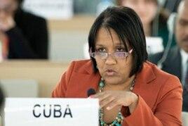 La representante permanente de Cuba en Ginebra, Anayansi Rodríguez.