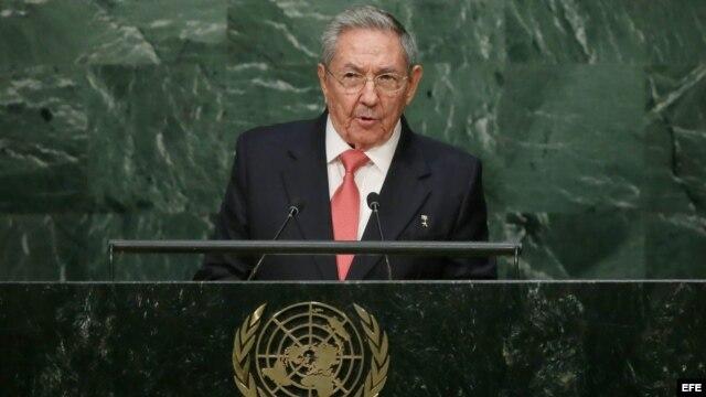 Raúl Castro durante su discurso en la Cumbre de Desarrollo Sostenible de la ONU.