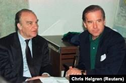 Biden speaks with then-Bosnian President Alija Izetbegovic in Sarajevo on April 9, 1993.