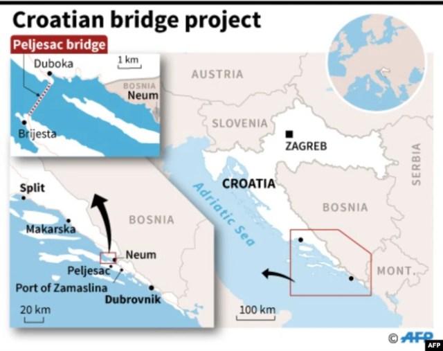 Geografski prikaz mjesta gradnje Pelješkog mosta