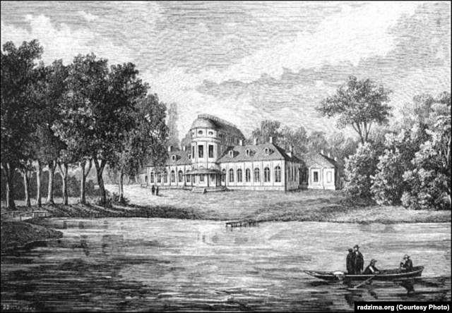 Палац Храптовічаў у Шчорсах. Гравюра з малюнка Н.Орды