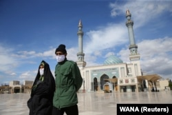 In early March, holy shrines and mosques across Iran, like this one in Qom, were ordered closed.