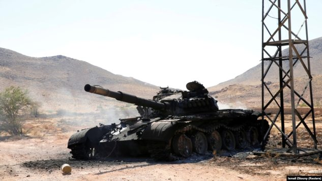 A destroyed tank belonging to the eastern forces led by Khalifa Haftar in Gharyan, south of Tripoli, Libya.