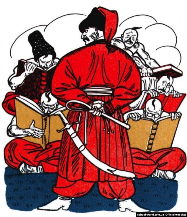 Ілюстрація Анатолія Базилевича «Троянське племя все засіло коло книжок» до твору Івана Котляревського (1769–1838) «Енеїда»