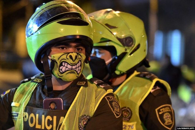 Police officers in Cali, Colombia, on March 20