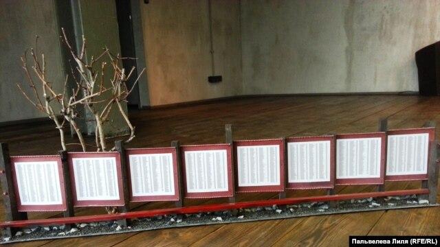 Макет Стены памяти с именами репрессированных