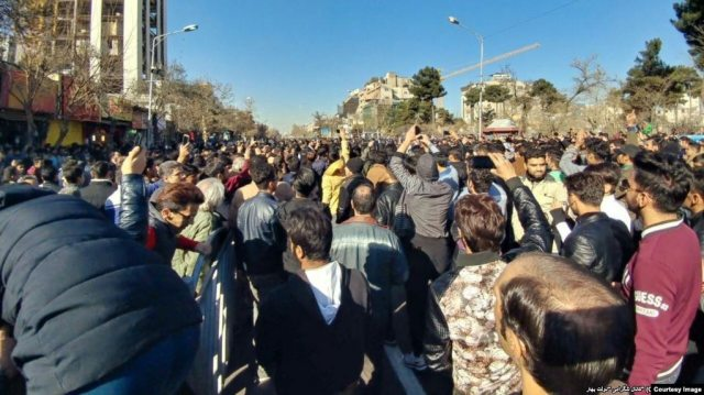 Iranians take to the streets of Mashhad in one of several demonstrations in the country against increasingly high prices and other economic ills.