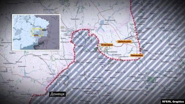 Лінія оборони української армії в районі Дебальцева, 2015 рік