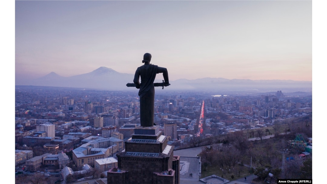 Mother Armenia looks out over Yerevan in March 2021.