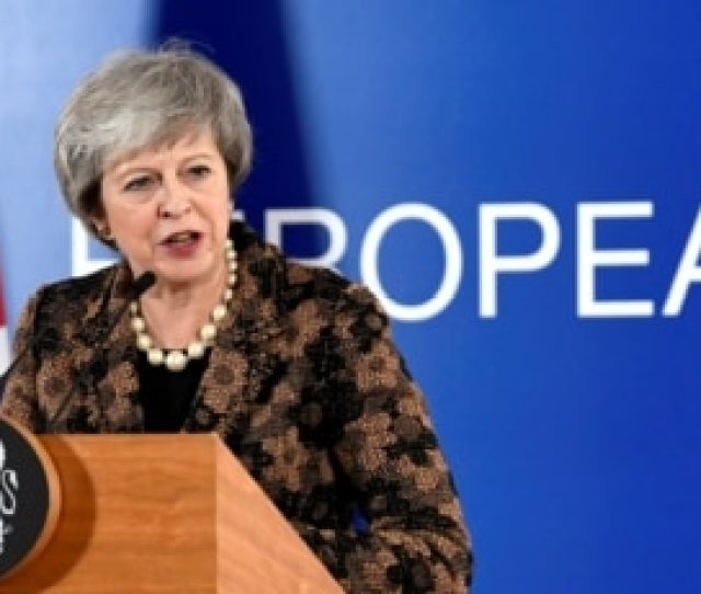 British Prime Minister Theresa May Attends A News Conference After A European Union Leaders Summit In