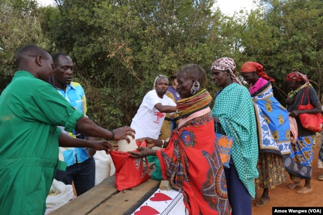 Village women collect food donations from the Laikipia Nature Conservancy in Kenya, where owner Kuki Gallmann distributes staple foods and water to help her neighbors get through the drought, March 19, 2017. (J. Craig/VOA)