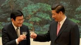 Chủ tịch Việt Nam Trương Tấn Sang Chủ tịch Trung Quốc Tập Cận Bình tại Sảnh đường Nhân dân ở Bắc Kinh, ngày 19/6/2013.
