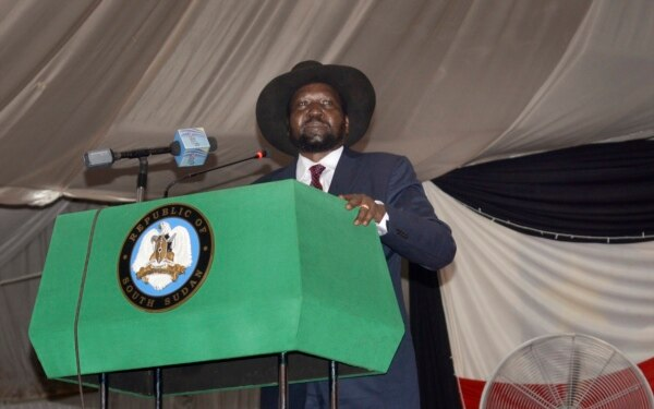 FILE - South Sudan President Salva Kiir voices his reservations before signing a peace deal in the capital Juba, South Sudan.
