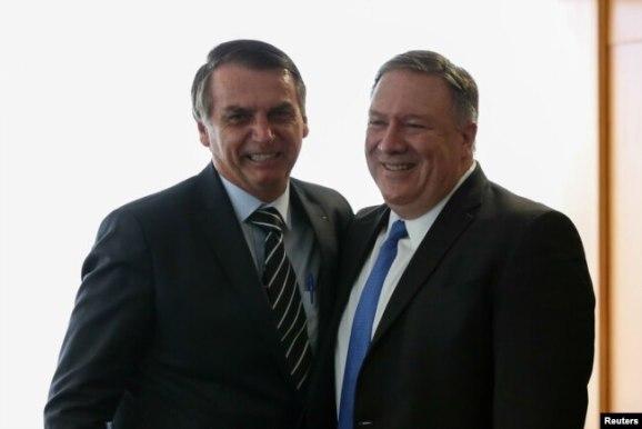 El secretario de Estado de EE. UU., Mike Pompeo, se reunió con el presidente de Brasil, Jair Bolsonaro, en Brasilia, Brasil, el 2 de enero de 2019. Foto de Marcos Correa (Presidencia).