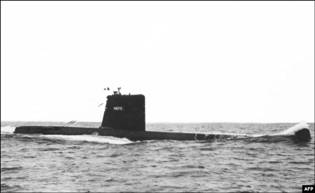 """""""Minerva"""", kapal selam kelas """"Daphne"""". """"Minerve"""" dan """"Eurydice"""" menghilang di laut pada 27 Januari 1968 dan 04 Maret 1970, menyebabkan kematian 109 kapal selam. (Foto: STF / AFP)"""