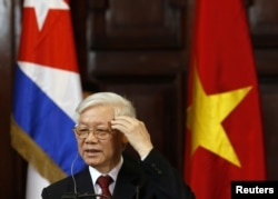 Vietnam's Communist Party Secretary General Nguyen Phu Trong addresses the audience at the University of Havana, in Havana, Cuba, March 29, 2018.