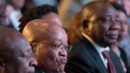 President Jacob Zuma (C) and deputy president Cyril Ramaphosa (R) attend the declaration announcement of the municipal elections in Pretoria, South Africa, Aug. 6, 2016.