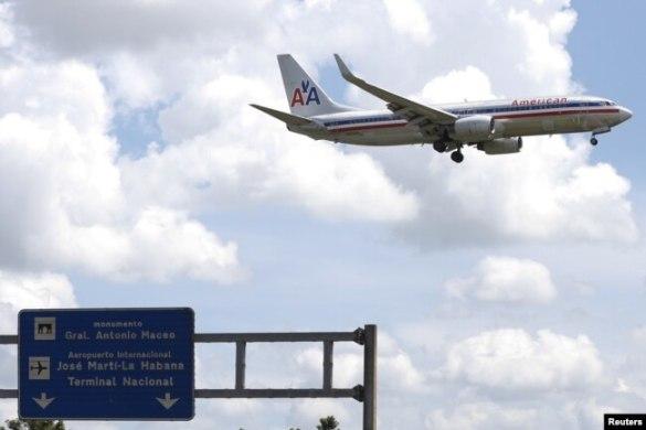 Un avión de American Airlines se prepara para aterrizar en La Habana. Sep. 19, 2015.