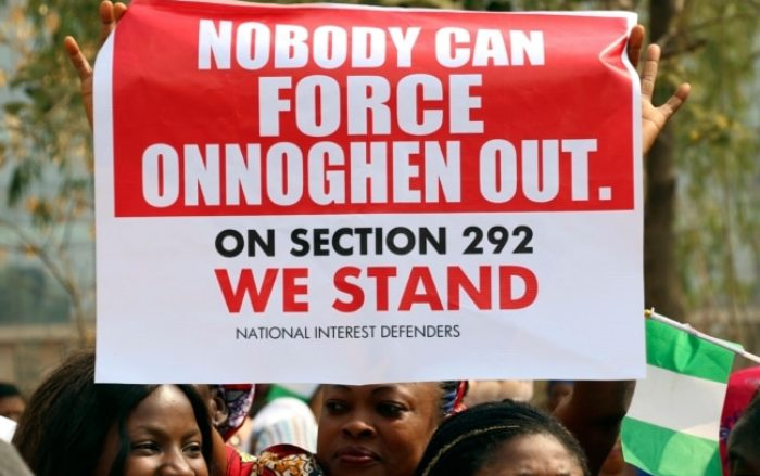 People protest at the secretariat of the Nigerian Bar Association following the suspension of Nigeria's Chief Justice Walter Onnoghen, in Abuja, Nigeria, Jan. 28, 2019.