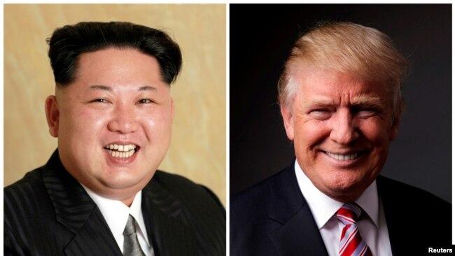 La reunión del presidente de EE.UU., Donald Trump, (derecha) y el líder norcoreano, Kim Jong Un sería la primera reunión de líderes de ambos países.