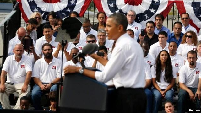 Tổng thống Obama nói về tình trạng bế tắc ngân sách tại M. Luis Constructịon, một doanh nghiệp nhỏ ở thành phố Rockville, bang Maryland 3/10/13