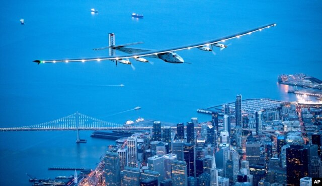 FILE - Solar Impulse 2 flies over San Francisco, April 23, 2016.