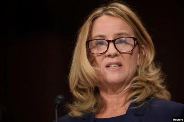 Christine Blasey Ford declara ante Comité Judicial del Senado sobre acusaciones de asalto sexual que ella ha denunciado contra el nominado a la Corte Suprema Brett Kavanaugh. Septiembre 27 de 2018.