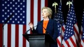 Ứng cử viên tổng thống của Đảng Dân chủ Hillary Clinton phát biểu về an ninh quốc gia ở San Diego, California, ngày 2 tháng 6 năm 2016.