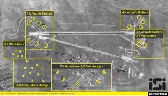 Gráfica de los blancos impactados por Estados Unidos en el campo aéreo de al-Shayrat, Siria. (ImageSat International)