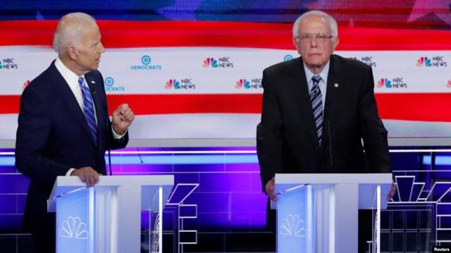 Джо Байден та Берні Сандерс під час дебатів у Маямі 27-го червня