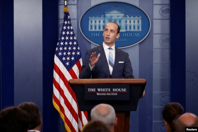White House senior policy adviser Stephen Miller discusses U.S. immigration policy at the daily press briefing at the White House in Washington, Aug. 2, 2017.