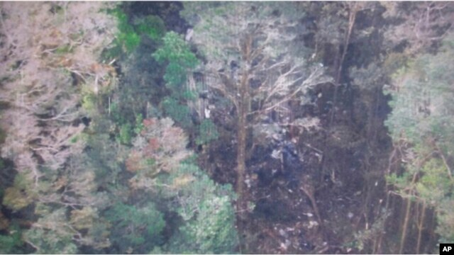 This photo released by the National Search and Rescue Agency (BASARNAS) of Indonesia, Aug. 17,2015 shows the part of the wreckage that BASARNAS identified as of the missing Trigana Air Service flight that crashed in Oksibil, Papua, Indonesia.