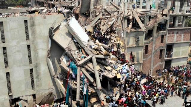 Edificio colapsado en Savar, cerca de Dhaka, Bangladesh, donde murieron 70 personas.